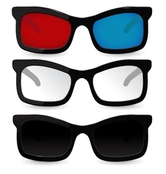 Set of glasses Eyeglasses sunglasses 3D glasses vector image