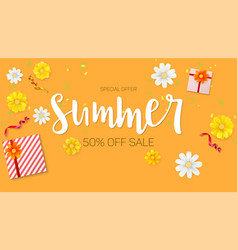 Summer sale ad selling banner top view gift box vector