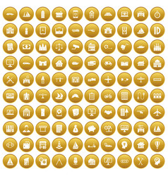 100 private property icons set gold vector image vector image