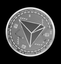 crypto currency tron silver symbol vector image vector image