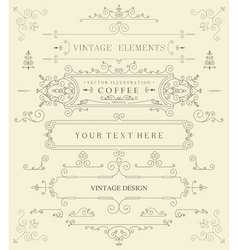 Decorative thin retro elements vector image
