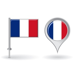 French pin icon and map pointer flag vector image vector image