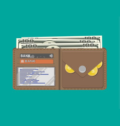 leather men wallet with credit cards golden coins vector image