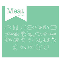 meat line icon on green background vector image