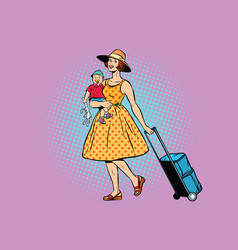 mom traveler with a child vector image
