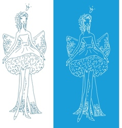 ornate silhouette of the bride with bow vector image