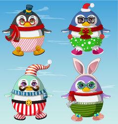 Set of cute penguins winter clothes vector