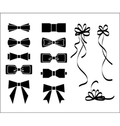Bow set Black and white silhouette vector image