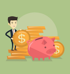 Business man putting coin in piggy bank vector