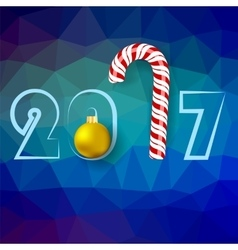 Candy Cane and Yellow Glass Ball vector image