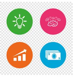 chart with arrow brainstorm cash money vector image vector image