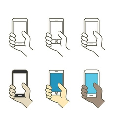 Different modern mobile gadgets Lineart color vector image vector image