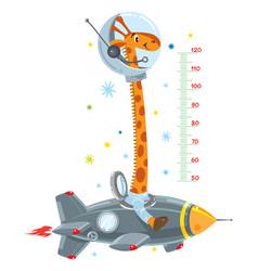 giraffe on rocket meter wall or height chart vector image vector image