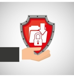 hand holding folder file shield protection data vector image