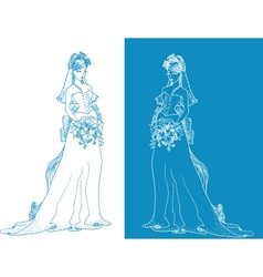 Ornate bride silhouette hand drawing with bow vector
