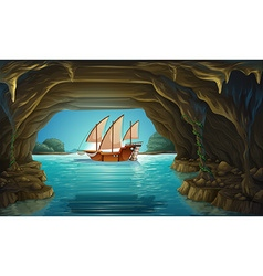 Sailboat floating on the ocean vector image vector image