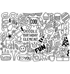 0067 hand drawn party doodle happy birthday vector