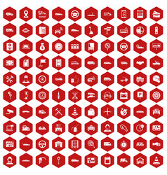 100 auto icons hexagon red vector image