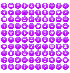 100 medal icons set purple vector