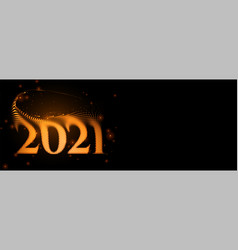 2021 new year sparkling banner with swirl effect vector