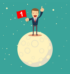 A man in a business suit conquered the moon vector
