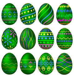 a set of green easter eggs with colorful patterns vector image