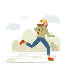 a young female student runs holding a backpack vector image