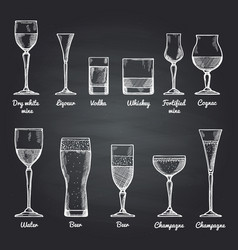 Alcoholic drinking glasses vector
