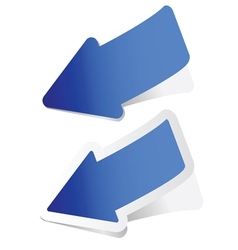 arrow sticker in blue vector image
