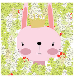 Baby rabbit bunny princess in the summer forest vector
