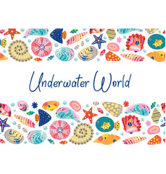 basic rgbunderwater world horizontal banner vector image
