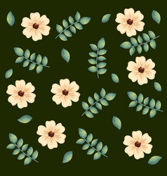 beautiful flowers and leafs decorative pattern vector image