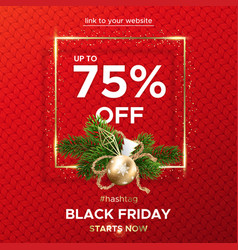 black friday web banner on a red knitted vector image