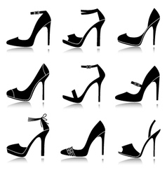 Black shoes icons vector