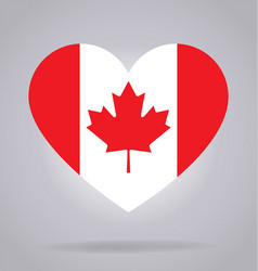 Canada flag in heart shape vector