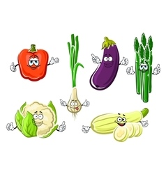 Cartoon happy organic vegetable characters vector image