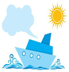 Cartoon ship on the sea vector image vector image