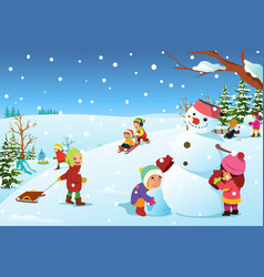 children playing outside during winter vector image