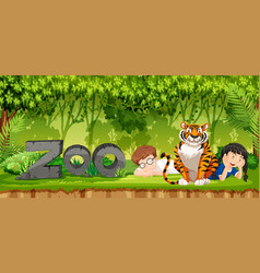 Children with tiger scene vector