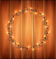 christmas lights realistic garland a wood vector image
