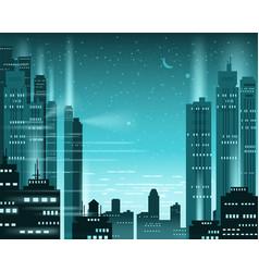 cityscape metropolis night lights of a big city vector image
