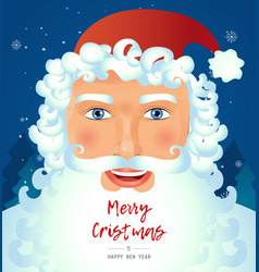 classic santa claus face smile greeting vector image