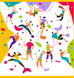 Climbing people active characters vector