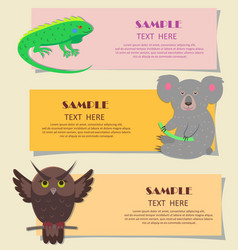 Concept three horizontal beasts on kids cards vector