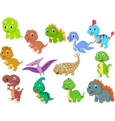 cute baby dinosaurs collection vector image