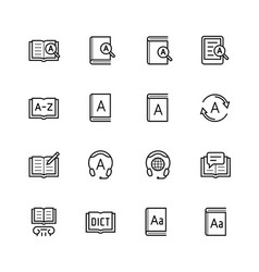 Dictionary vocabulary book icon set in thin line vector