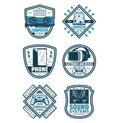 electronics and devices retro badge shield design vector image