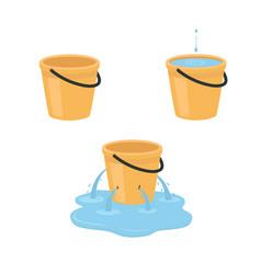 Empty full leaking bucket vector