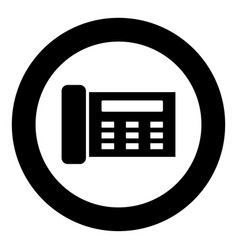 Fax black icon in circle vector