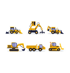 flat set of construction equipment vector image